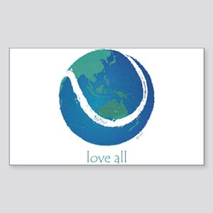 love all world tennis Sticker (Rectangle)